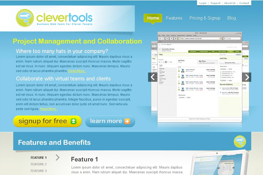 Clevertools site design