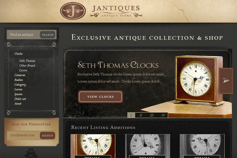 Jantiques site design proposal